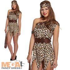 Cavewoman Ladies Fancy Dress Animal Print Cave Girl Womens Adult Costume Outfit