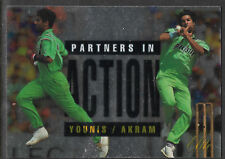 FUTERA 1996 CRICKET ELITE WAQAR YOUNIS & WASIM AKRAM PARTNERS CARD No 57