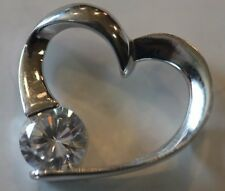 Sterling Silver 3/4Ct Cz Cubic Zerconia Stone Heart Pendant