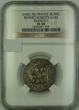 (1442-50) France Rennes Silver Blanc Coin Francis I Roberts-6142 NGC VF-30 AKR