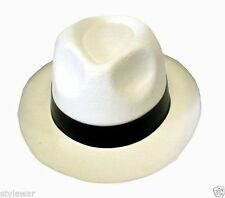 MEN WHITE /BLACK GANGSTER MAFIA HAT FELT TRILBY FEDORA AL CAPONE FANCY DRESS HAT