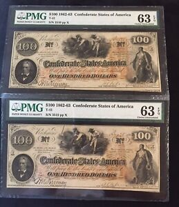 Confederate Currency Lot Of 2 T-41 1862 $100 PMG 63 EPQ S/N 3510 & 3515