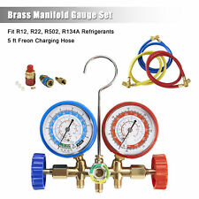 R134A R12 R22 R502 Diagnostic Brass Manifold Gauge ACME Adapter & 5FT Hoses