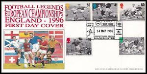 1996 GB Football Legends Dawn FDC 25 Yrs Official Football Covers Manchester SHS