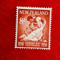 1958 NEW ZEALAND HAWKES BAY CENT POSTAGE STAMP 8d MINT HINGED