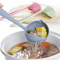 Home 2 in 1 Soup Spoon Long Handle Dinnerware Kitchen Cooking Utensil Plastic