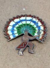 Jeronimo Fuentes Margot Mexico 925 Enamel Aztec Head Dress Dancer Pin Brooch