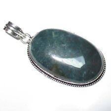 "Moss Agate Handmade Gemstone Silver Jewelry Pendant 2.40"" Vintage Look"
