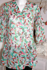Jette  Top  Cotton Long Bluse Tunika  Birds   3/4 Arm Size: 34 Neu