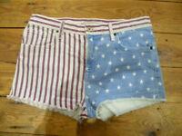 TOPSHOP UK12 W30 LADIES STARS & STRIPES STRETCH DENIM HOT PANTS SHORTS GOOD CON
