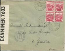 Algeria Sc#134(block of 4) SIDI BEL-ABBES 29/1/43 WWII Censor to RED CROSS