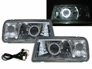 Tracker 88-98 Convertible 2D Guide LED Halo Headlight Chrome V1 for GEO LHD