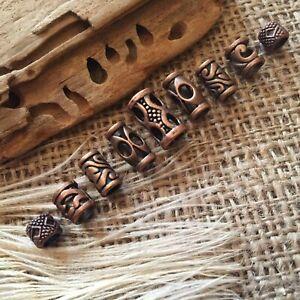 9 Copper Beard Ring Celtic Viking Antique Mix 4- 5.5 mm Hole GoT Dread Beads UK