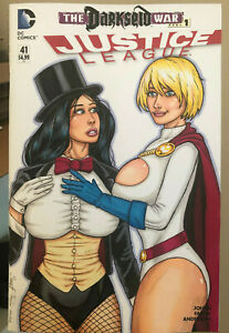 JUSTICE LEAGUE #41 SKETCH COVER variant POWERGIRL & ZATANNA sexy comic art NM