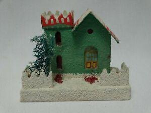"Vintage Cardboard Putz Green Christmas Village House 3 3/4"" h x 4 1/2"" Japan  #7"