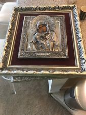 Antique 19thC Russian Hallmarked 84 Silver Mary & Jesus Icon Painting