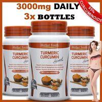 3 x BOTTLES TURMERIC 95% CURCUMINOID LONGA LINN PURE TUMERIC PILLS ANTIOXIDANT