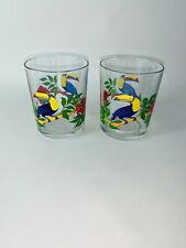 More details for 2 vintage glass tumblers small toucan tropical print