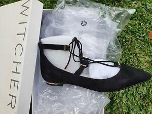 BNIB WITCHERY Black Suede Flats Size 37🖤