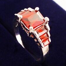 Ladies White Gold Plated Purple Zirconia Engagement Rings Band Wedding Gift