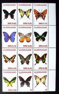 SURINAME 2005 Butterflies Block of 12 U/M SALE NB2055
