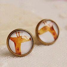1pair Giraffe Animal Photo Glass Cabochon Stud Earring Women Girl's Jewelry Gift