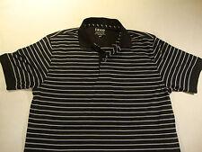 IZOD Luxury Sport Performence Polo Golf S Small Black Gray T Shirt Mens Striped