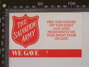VINTAGE SALVATION ARMY RED SHIELD APPEAL WE GAVE AUSTRALIA DONATION STICKER