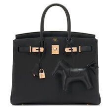 Hermes Black 35cm Birkin Bag Togo Rose Gold Hardware D Stamp