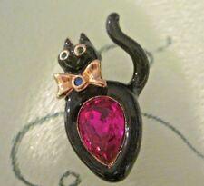 Swarovski Swan Signed Black Enamel Cat w/ Pink Crystal Brooch Unique & Rare 014