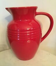 "Red LE CREUSET Large 2 Qt Stoneware Pitcher Jug Vase 8.75"" Tall"