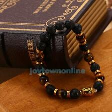 FASHION MEN'S LAVA ROCK AND TIGERS EYE STONE GOLD BUDDHA BRACELET ELASTIC BANGLE
