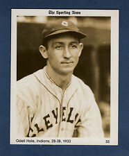 "#55 Odell Hale 1933 Indians, (1981 Conlon/The Sporting News) 4""x 5"" sepia card"