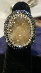 Turkish 6 Ct Oval Druzy Brown  Vintage 925 Sterling Silver S 6 Coctail Ring