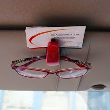 Red Style Glasses Clip Sun Spectacle ID Credit Card Ticket Holder Inner Car Part