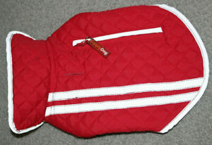 SimplyDog Red Diamond Quilted Reflective Fleece Lined Vest Coat Jacket Dog SZ XS