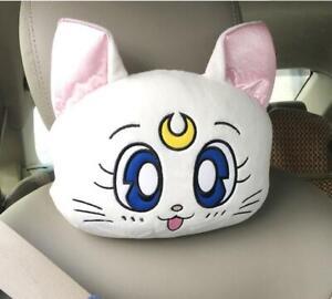2pcs Cute Sailor Moon Car Seat Head Rest Cushion Pillows Neck Rest Pillow Set