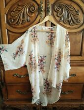 Sheer Cream & Burgundy Floral Open Kimono Cover Up | Band Of Gypsies | Size S/M