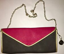 RED/BROWN CLUTCH WITH GOLD STRAP BY BIG BUDDHA!