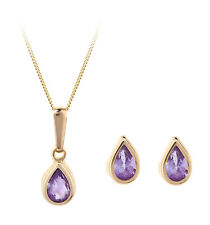 9ct gold February (amethyst) birthstone earring, pendant & chain set. Gift box