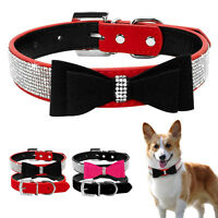 Cute Bow Studded Crystal Rhinestone Suede Leather Pet Dog Collars Free Shipping
