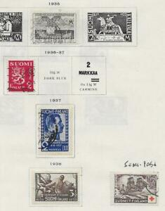 5 Finland Stamps w/Semi-Postal from Quality Old Antique Album 1935-1938