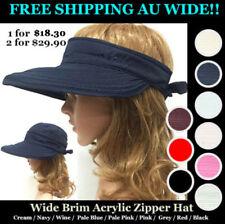 Women Wide Brim Acrylic Sun Hats Anti-UV Visor Zipper Hat FREE SHIPPING AU WIDE