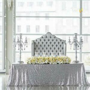 """90x156"""" Silver SEQUIN RECTANGLE TABLECLOTH Wedding Party Catering Linens SALE"""