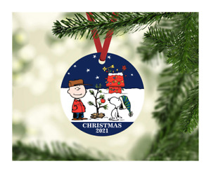 """PEANUTS CHARLIE BROWN, SNOOPY CUSTOM ORNAMENT - 3.5"""" ROUND METAL - DOUBLE SIDED"""
