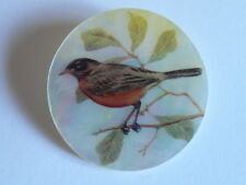 "Beautiful Robin Bird Button on Mother of Pearl MOP Shank Button 1+3/8"" Robin"