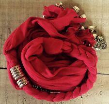 HOT RED Scarf Necklace Wrap Pendant Hearts Women's Multi Wear Head Wrap