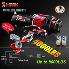 4000LBS/1814kg 12V Wireless Electric Winch Red Synthetic Rope Boat ATV 4WD 4x4