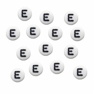 100 White Acrylic Alphabet Coin Spacer Beads 7x4mm Round Pick Your Letter A to Z