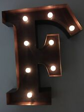 LED LIGHT CARNIVAL CIRCUS  RUST  METAL LETTER  F - WALL OR FREE STANDING 13INCH